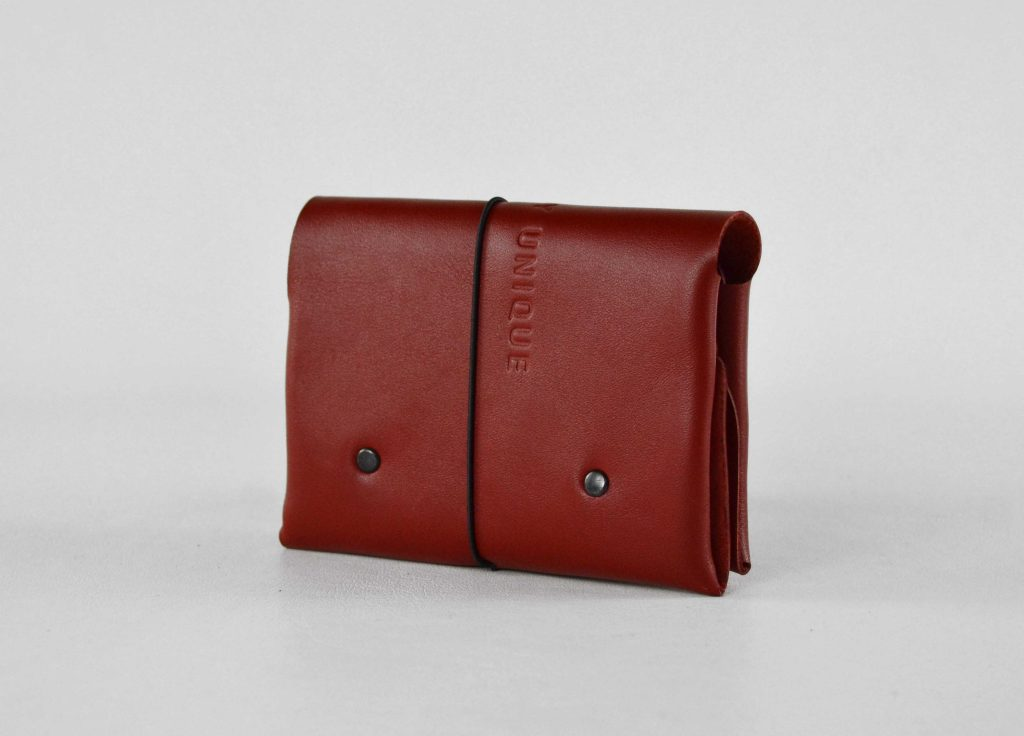 Red soft leather wallet