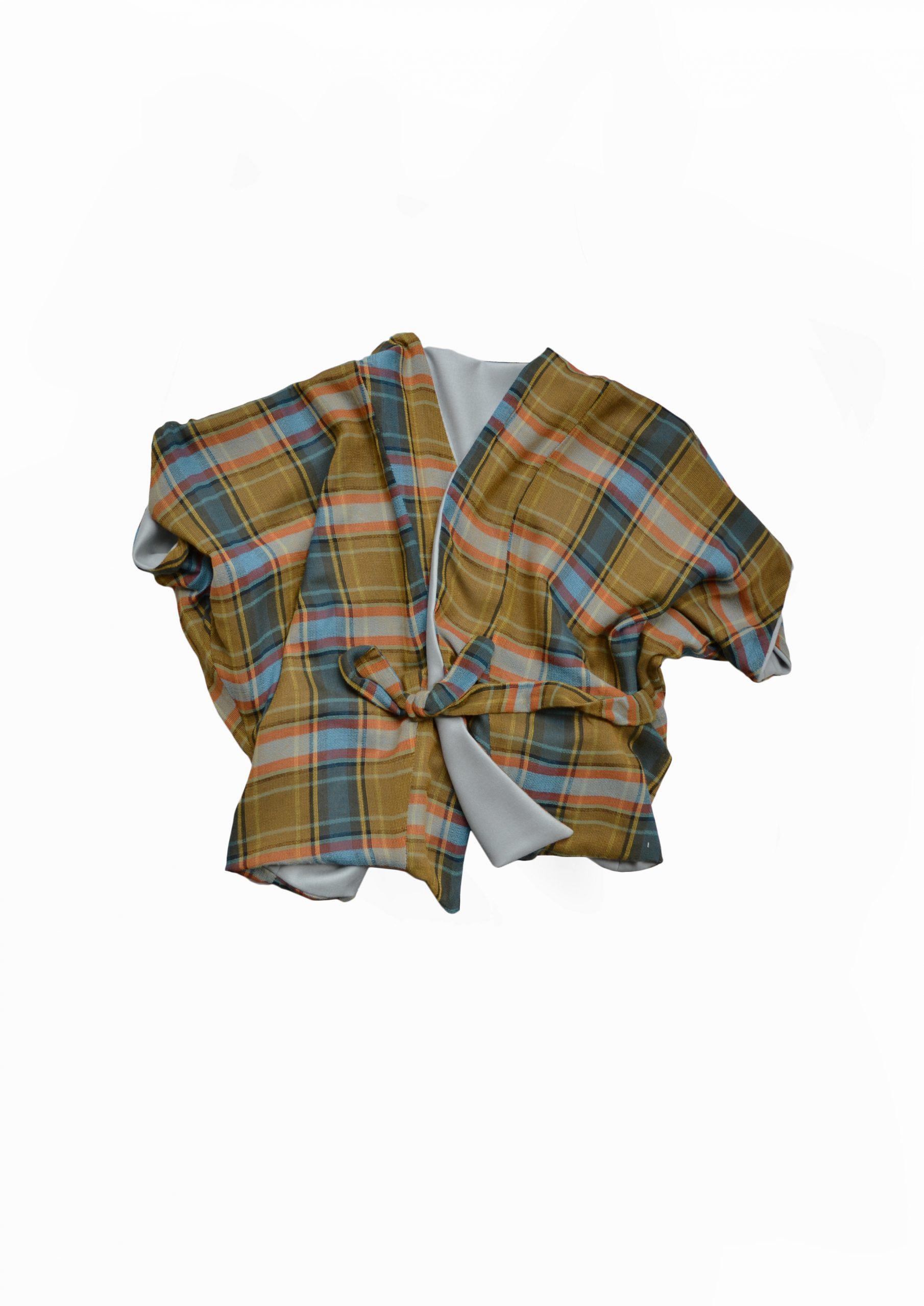 Reversible green check japanese style vest